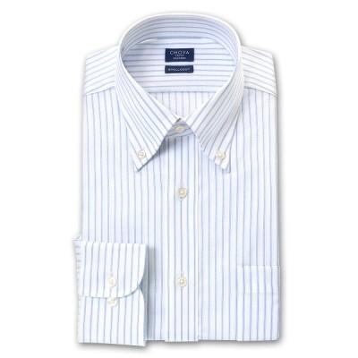 CHOYA SHIRT FACTORY 日清紡アポロコット 長袖 ワイシャツ メンズ 形態安定加工 スカイブルー&白ドビーヘリンボーンストライプ ボタ