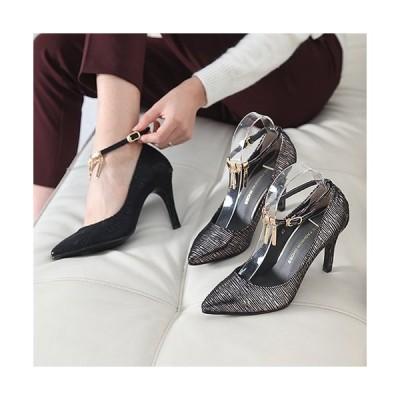 パンプス ポインテッドトゥ アンクルストラップ ハイヒール パンプス ファッション レディース 靴 婦人靴 30代 40代 レディース