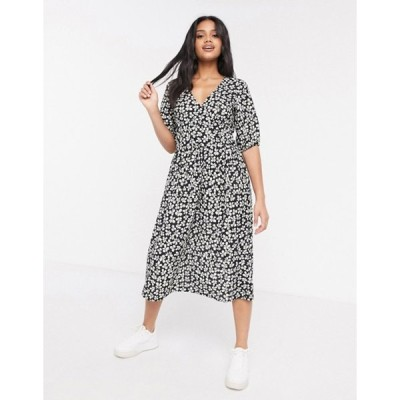 エイソス レディース ワンピース トップス ASOS DESIGN midi smock dress in black and white floral print