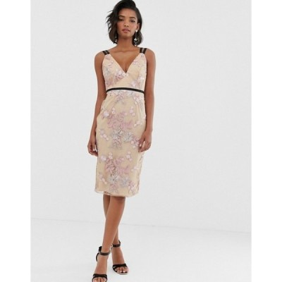 エイソス レディース ワンピース トップス ASOS DESIGN occasion pencil midi dress in floral embroidery