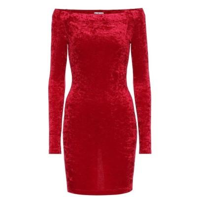 バレンシアガ Balenciaga レディース パーティードレス ワンピース・ドレス Velvet off-shoulder minidress Garnet