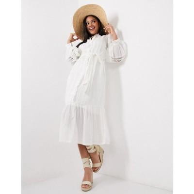 リバーアイランド River Island レディース ワンピース シャツワンピース ワンピース・ドレス puff sleeve shirt dress in white ホワイト