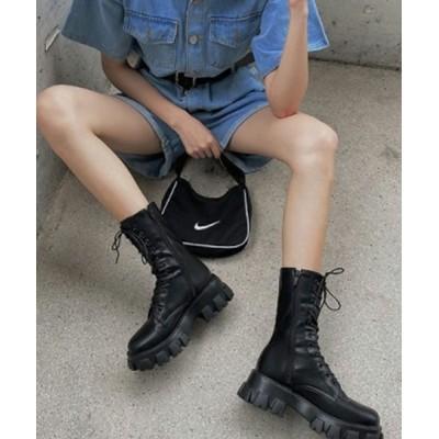 KOR / レースアップミドル丈厚底ブーツ WOMEN シューズ > ブーツ