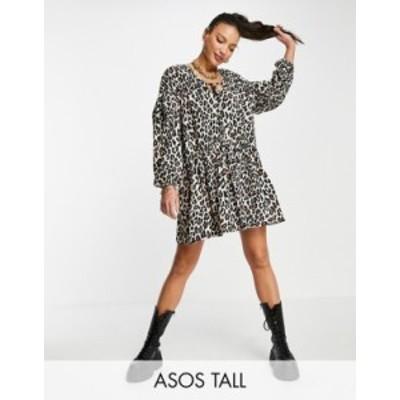 エイソス レディース ワンピース トップス ASOS DESIGN Tall tiered smock dress in leopard print Leopard print