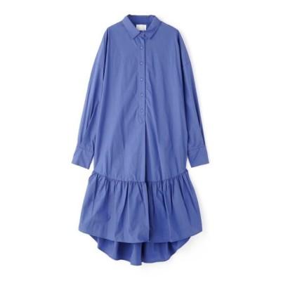 ROSE BUD/ローズ バッド フレアロングテールシャツドレス ブルー -