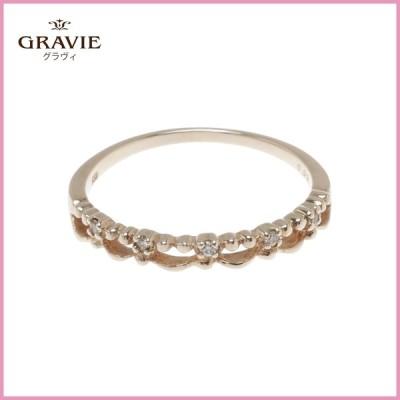 ダイヤモンド リング 0.02ct K10YG レースデザイン クラシカル 普段使い お祝い レディース 指輪 プレゼント GRAVIE グラヴィ