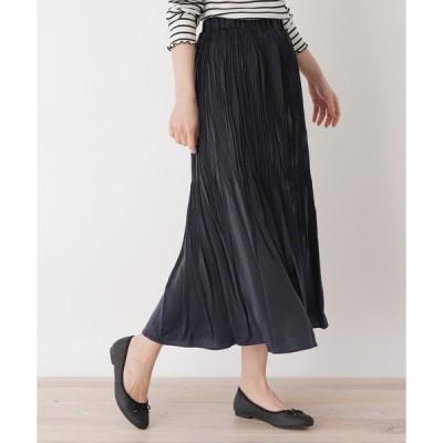 スカート 【M-LL】サテンプリーツ スカート