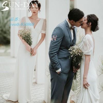 ウェディングドレス ウェディングドレス白 パーティードレス Vネック パール 花嫁ロングドレス 結婚式 挙式 お呼ばれ トレーンライン 二次会 エレガント