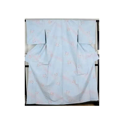 単衣 手織り紬 正絹 蝶柄織 ki21300 未使用品 お仕立て上がり お出かけはお着物で