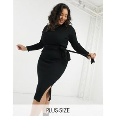 ニュールック レディース ワンピース トップス New Look Curve tie waist rib midi dress in black Black