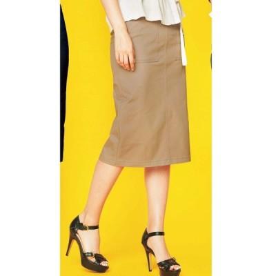 スカート 【20夏新着】綿混ストレッチ美脚タイトスカート