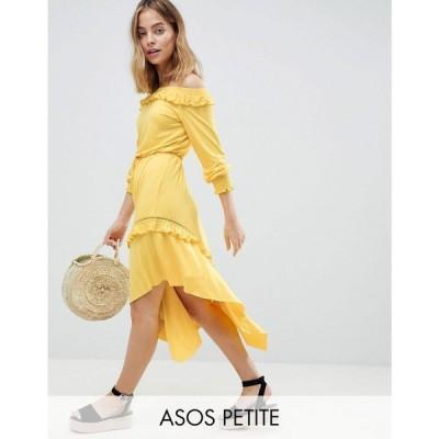 エイソス ASOS Petite レディース ワンピース ワンピース・ドレス ASOS DESIGN Petite Off Shoulder Shirred Cuff Midi Tea Dress Yellow