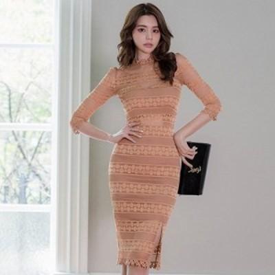 キャバ ドレス キャバドレス ワンピース ミディアムドレス シック 光沢 刺繍 高級感 大人 フィット感 レース 艶やか ブラウン S M L XL