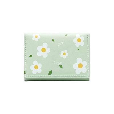 [zaltkaten] 財布 レディース 小銭入れ 多機能 カード入れ 大容量 軽量 女性用 二つ折り財布 コンパクト (グリーン)