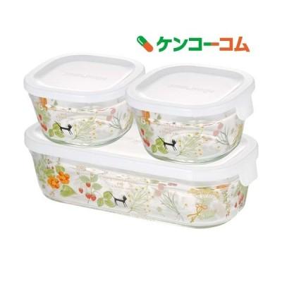 iwaki シンジカトウ パック & レンジ 角型3点セット colorful herbs PS-PRNSNB3 ( 1セット )