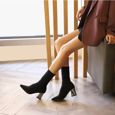 2020冬 新作 ショートブーツ ソックスブーツ ブーティー 韓国 シューズ 定番 人気 エレガント 靴 百掛け  カジュアルルック 快適 太ヒール 痛くない 美脚効果