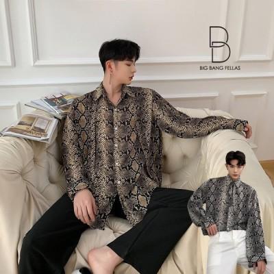 ストールネクタイセット パイソン柄 蛇柄 ゆったり シャツ モード系 韓流 韓国 ファッション メンズ 原宿系 韓国系メンズ 長袖 メンズ ストリート