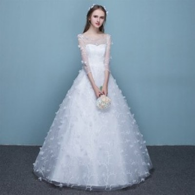 ウェディングドレス 二次会 花嫁ドレス 結婚式 ドレス パーティードレス Aライン 大きいサイズ xl 2xl 袖あり おしゃれ 可愛い プリンセ