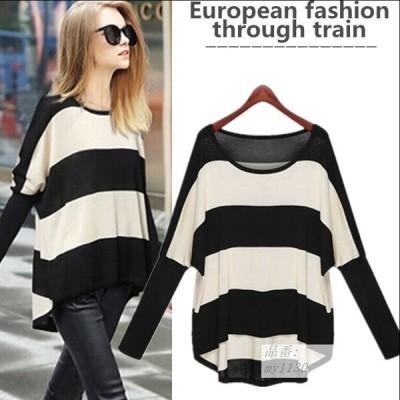 2020 秋 レディファッション ニット ヨーロッパとアメリカ バットシャツ ヘッジ ラウンドネック 縞 ストライプ 編み物 ゆるい 大きいサイズ 薄い ニット