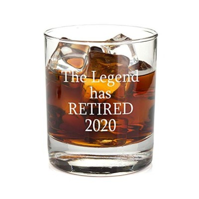 The Legend Has Retired Whiskey Glass - Funny Retirement Gag Idea for Women and Men ? Gifts For Office Coworkers, Boss, Him, Her - 11oz Bourbon Scotc