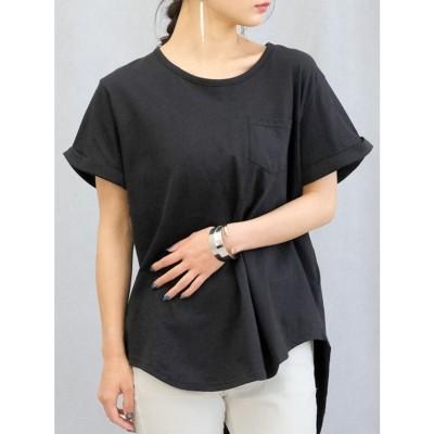 アンドジェイ ANDJ ポケット付きラウンドカット半袖Tシャツ (ブラック)