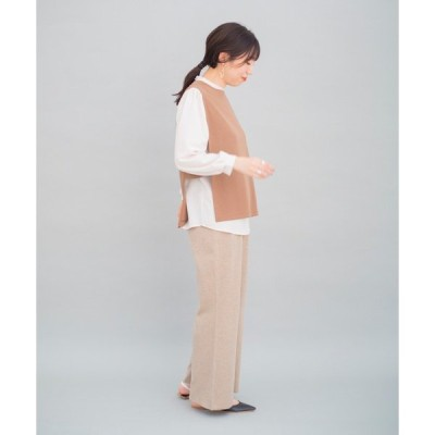 tシャツ Tシャツ 【セットで着るだけお洒落】ポンチベスト×ブラウスセットプルオーバー