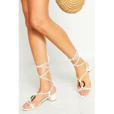 Boohoo レディースシューズ Boohoo Low Block demi Ring Heel Sandals white