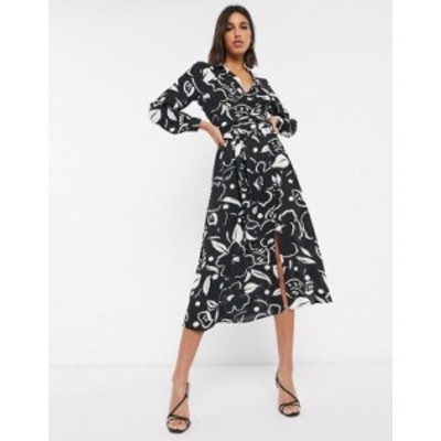 エイソス レディース ワンピース トップス ASOS DESIGN wrap front midi dress in abstract floral print Black/white abstract