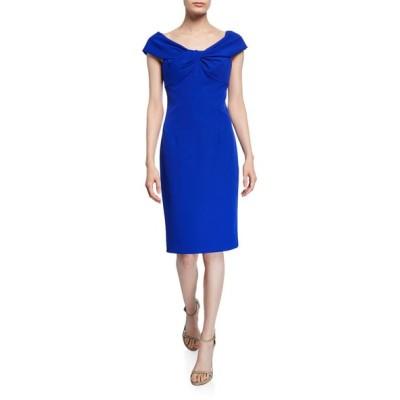 トリーナターク レディース ワンピース トップス Imperative Portrait-Neck Short-Sleeve Crepe Sheath Dress