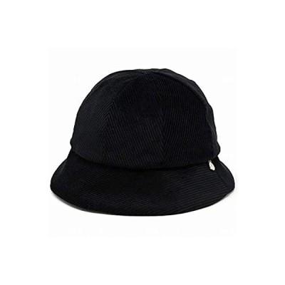 (ダックス) DAKS クロッシェ ハット クロッシェハット コーデュロイ 綿 チャーム UV加工 日本製 秋冬 M (約57cm) 黒