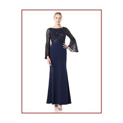 【新品】Adrianna Papell Women's Beaded Boat Neck Gown, Light Navy, 6【並行輸入品】