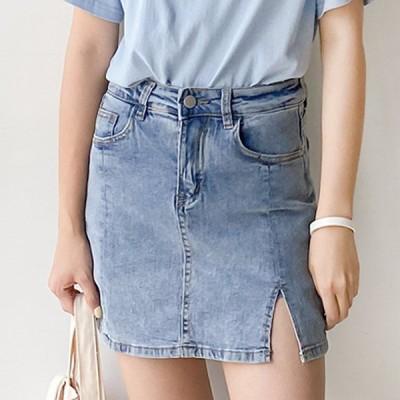 ★送料0円! 韓ファッション★舌レールを可能にするこのウエストデニムスカート (pt515)