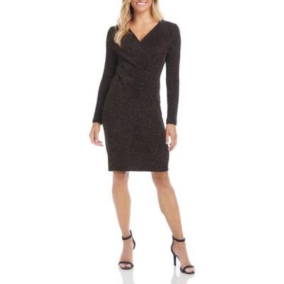 カレンケーン レディース ワンピース トップス Women's Glitter Faux Wrap Dress