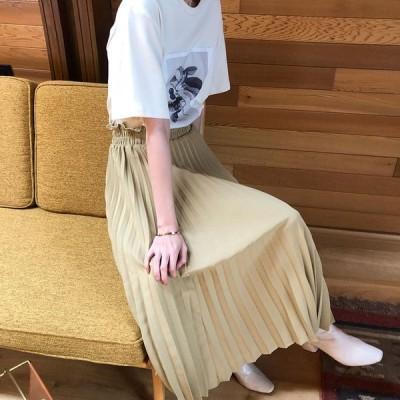 スカート プリーツスカート ボトムス 2020 春秋 レディース 20代 30代 40代 無地 おしゃれ ロング ウエストゴム カジュアル ハイウエストAライン スカート