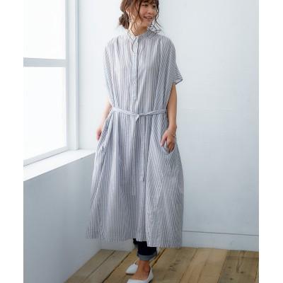 やわらかコットンワンピース(共布ベルト付) (ワンピース)Dress