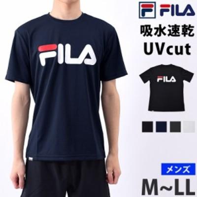 FILA (フィラ) メンズ Tシャツ 半袖 ランニング ウェア 419358 クルーネック 速乾 スポーツウェア ヨガ ウェア 男性用 丸首シャツ ロゴT