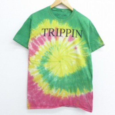古着 半袖 Tシャツ TRIPPIN コットン クルーネック 緑他 グリーン タイダイ Mサイズ 中古 メンズ Tシャツ 古着