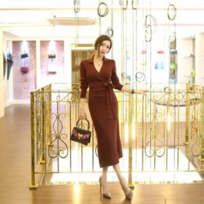 大人かわいいワンピース 自分にご褒美 オルチャン服 オルチャン ファッション 韓国 レディースファッション ニットワンピース ロング ニ