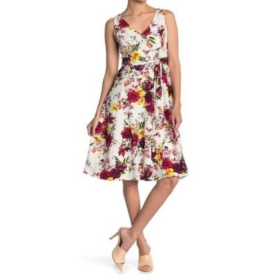 テイラー レディース ワンピース トップス Printed V-Neck Linen Dress IVORY MULT