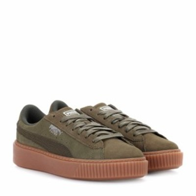 プーマ Puma レディース スニーカー シューズ・靴 Basket Platform suede sneakers Olive Night-Silver
