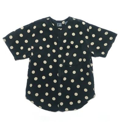 Liswear ノーカラー ドット柄 レーヨン 半袖シャツ サイズ表記:レディースL