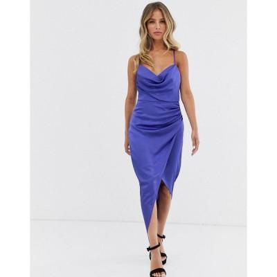 フォーエバーニュー ミディドレス レディース Forever New ruched slip midi dress with metal hoop back detail in cobalt エイソス ASOS