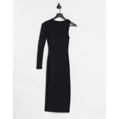 エイソス レディース ワンピース トップス ASOS DESIGN one shoulder long sleeve midi dress in black