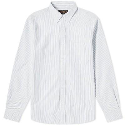 ビームス プラス Beams Plus メンズ シャツ トップス Button Down Candy Stripe Shirt Blue