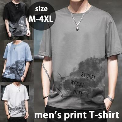 Tシャツ メンズ 半袖 クルーネック ストレッチ素材 ウィング プリント バード