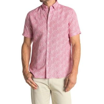 トスカーノ メンズ シャツ トップス Abstract Print Short Sleeve Linen Blend Shirt PORT