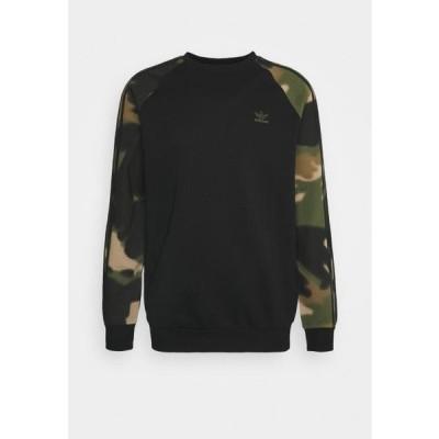 アディダス メンズ ファッション CAMO CREW - Sweatshirt - black/wild pine/multicolor