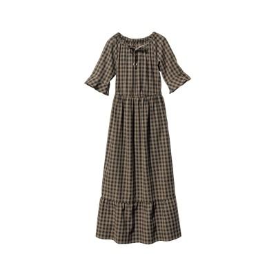 大きいサイズ 綿100%5分袖ロング丈ワンピース ,スマイルランド, ワンピース, plus size dress