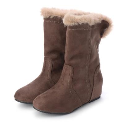 """マシュガール masyugirl 【4E/幅広ゆったり・大きいサイズの靴】 """"防寒""""フェイクファーの2WAYシークレットヒール (オークスエード) SOROTTO"""