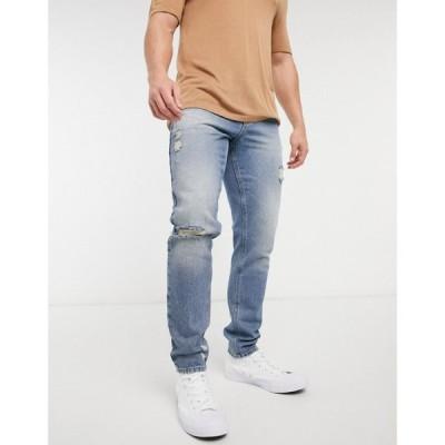 エイソス ASOS DESIGN メンズ ジーンズ・デニム ボトムス・パンツ Slim Jeans In Mid Blue 90'S Wash With Heavy Rips ウォッシュブルー